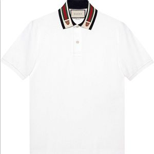 Gucci Cotton Polo Shirt with Web and Feline design